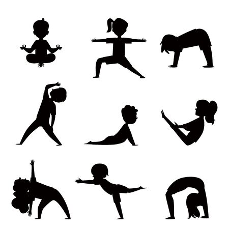Cartoon kids silhouette set in various yoga poses - child exercise and fitness collection. Children stretching and meditating, isolated outline vector illustration on white background