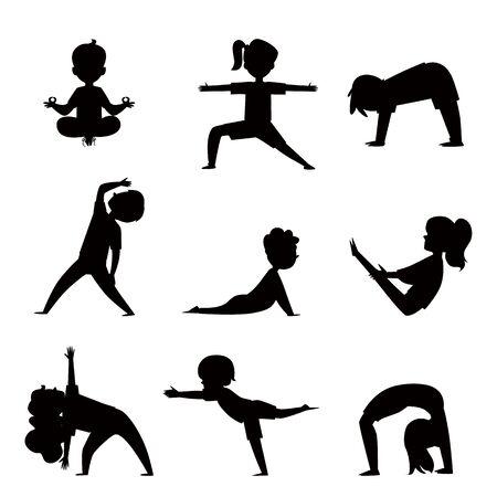 Cartoon-Kinder-Silhouette in verschiedenen Yoga-Posen - Kindergymnastik und Fitness-Kollektion. Kinder, die sich dehnen und meditieren, isolierte Umrissvektorillustration auf weißem Hintergrund