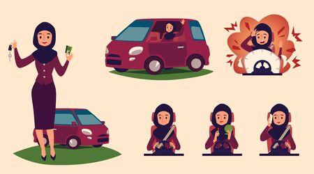 Set di personaggi dei cartoni animati di donne musulmane e arabe al volante, con patente e auto. Autista donna araba e musulmana in hijab guida un'auto. Illustrazione di vettore del fumetto piatto.