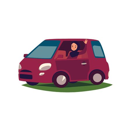 Happy arab lady in hijab driving her car cartoon flat vector illustration isolated on white background. Muslim woman on a car. Modern lifestyle and diversity concept.