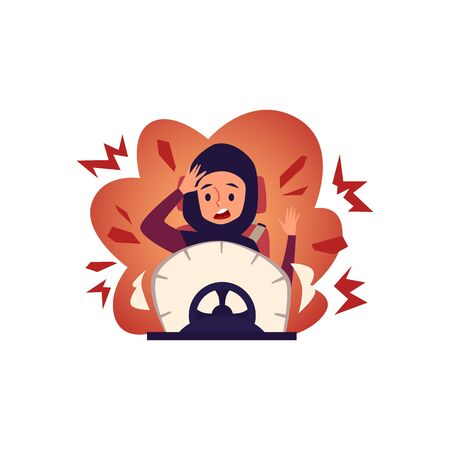 Arab woman driving a car and has an accident cartoon flat vector illustration isolated on white background. A Muslim woman feels shocked in a car crash situation.