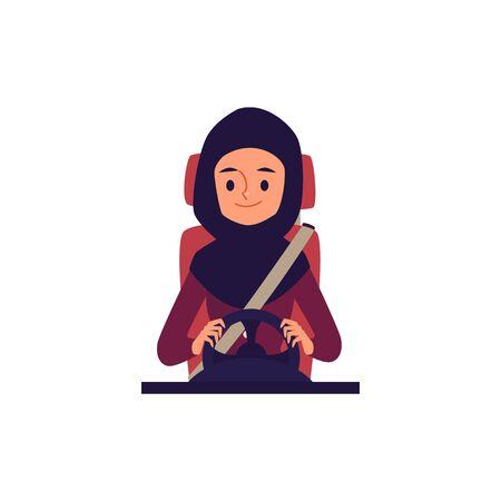 A muslim and arab young woman driver sits at the wheel wearing a seatbelt and smiles. Isolated flat cartoon vector illustration. Illustration