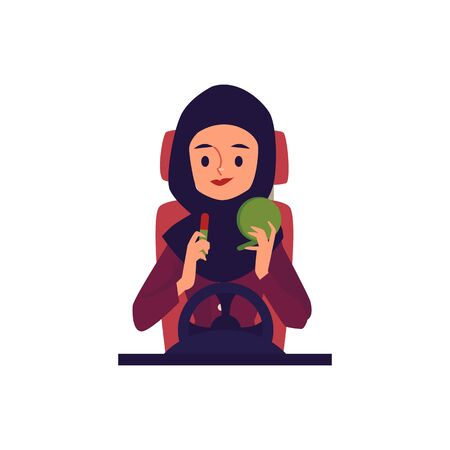 Female driver in hijab driving a car and putting on makeup, happy Muslim woman sitting in automobile behind wheel. Isolated flat hand drawn cartoon character vector illustration