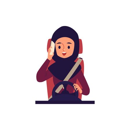 Muslim and Arab young woman driver talking on a mobile phone and a smartphone while driving. Arab woman driver driving in hijab. Isolated flat cartoon vector illustration.