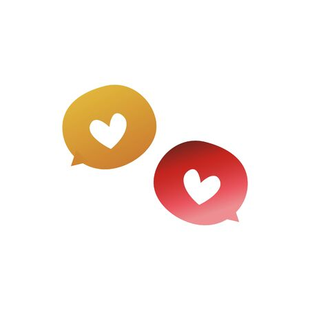 Heart symbol speech bubble chat icon isolated on white background - cute little red and yellow hand drawn love shapes for romantic texting, vector illustration Ilustracja