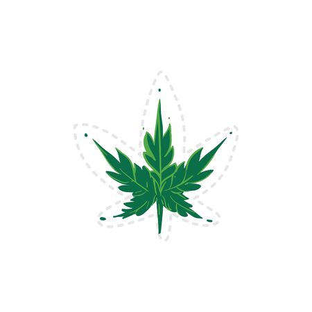 Green cannabis leaf drawing isolated on white background Illustration