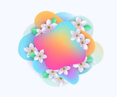 Multicolored gradient spots with apple tree flowers and green leaves for banner, poster and card, isolated vector illustration on white background.