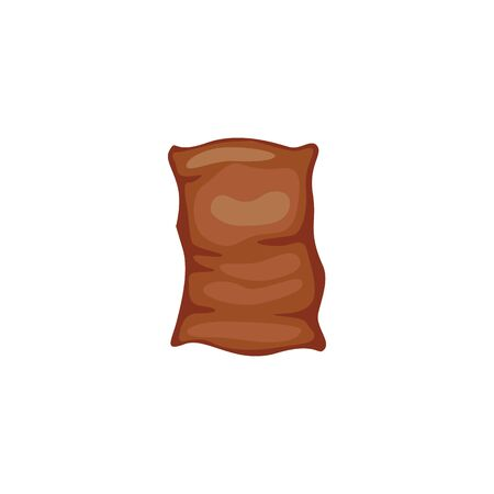 Brown bag and sack of grain, rice seeds. An isolated vector illustration of brown bag of rice on white background. Stok Fotoğraf - 129267445