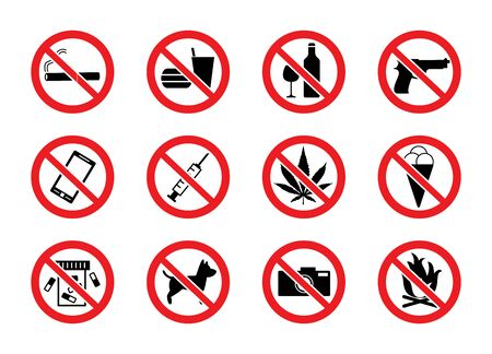 Set of signs prohibiting public use of alcohol, weapons and other means vector illustration isolated on white background. Black icons of forbidden subjects in red frame.