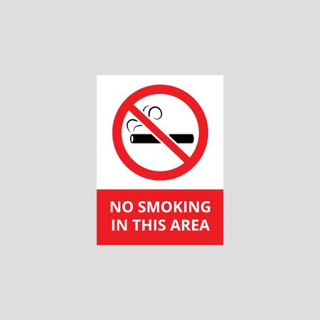 Sign and icon with a cigarette in a crossed out red circle. Sign No smoking in this area. Isolated vector illustration.