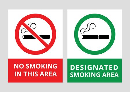 No smoking and designated smoking area banners vector illustrations isolated on white background. Forbidden and permitted use tobacco and cigarettes in public place symbols. 일러스트