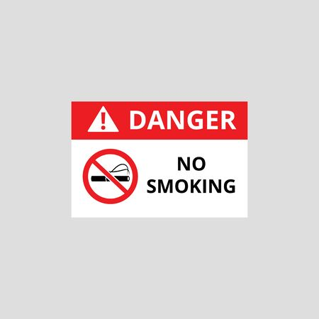 Sign forbidding smoking in dangerous flammable areas and industrial zones the vector illustration isolated on white background. Smoking prohibition warning sign. Иллюстрация