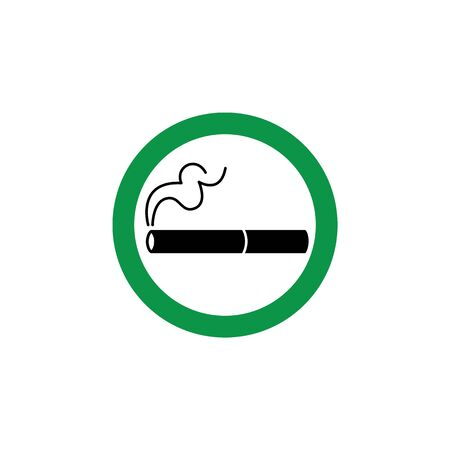Cigarette sign, symbol and icon in a green circle. Permit to smoke in an area or zone, isolated vector illustration.