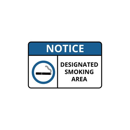 Notice of designated smoking area with cigarette icon and inscription vector illustration isolated on white background. Symbol for tobacco permitted zone. Illustration