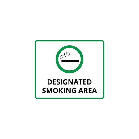 Designated smoking area or place with cigarette icon and sign in green circle, isolated vector illustration.