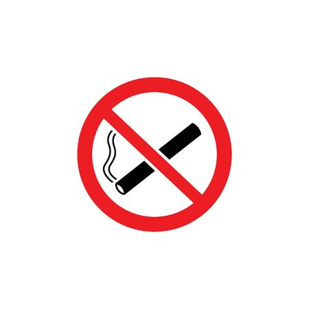A crossed out cigarette sign and icon in a red circle prohibiting smoking, isolated vector illustration.