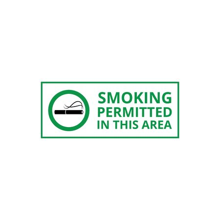 Smoking permitted area banner for signboard or label of smokers zone the vector illustration isolated on white background. Cigarette icon in green circle frame and text.