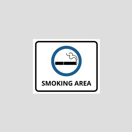 Notice of smoking area with cigarette icon in blue frame and permitting inscription vector illustration isolated on white background. Symbol for tobacco allowed zone.