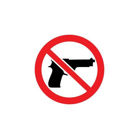 Waffenverbot, kein Waffenzeichen. Stoppen Sie Pistole und Waffe, isolierte Vektorsymbolillustration.
