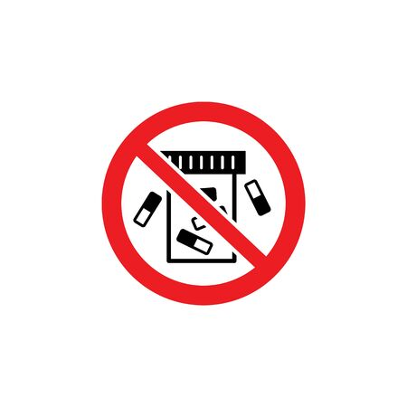 No cigarette butt warning sign for trash can or garbage bin, red crossed sign sticker to stop smoking in prohibited area - circle label for environment protection, isolated flat vector illustration