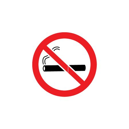 No smoking or electronic cigarette notification sign with icon and crossed out stop symbol the vector illustration isolated on white background. Smoking prohibition symbol.