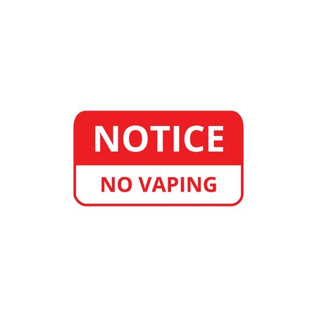 Notice no vaping red ban text banner vector illustration isolated on white background. Vape and e-cigarette smoking prohibition symbol for public places. Banque d'images - 129267528