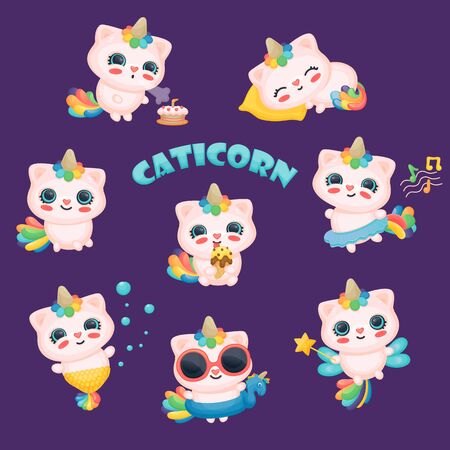 Set of cute baby caticorns, unicorn and cat with rainbow on blue background. Set of caticorn characters, happy cats and unicorns for stickers or prints, posters or cards. Vector cartoon illustration.