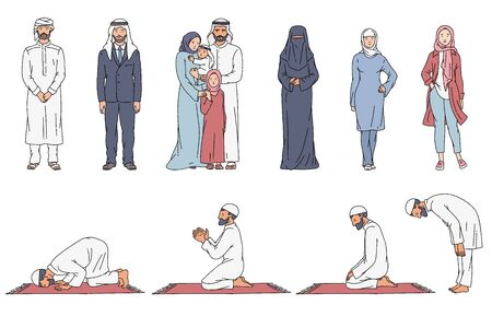 Muslim cartoon character set - Arab men and women in traditional clothes standing with family. Man in different steps of praying on carpet. People in Islam - hand drawn isolated vector illustration