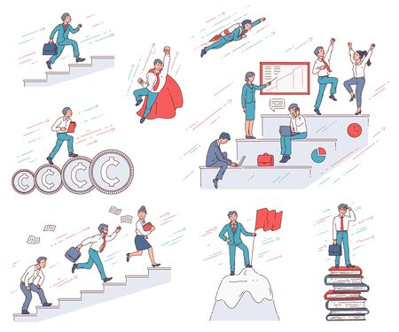 Career growth and business success illustration set. Successful cartoon businessman at work climbing mountain top and staircase, doing superhero pose, isolated vector drawing on white background.