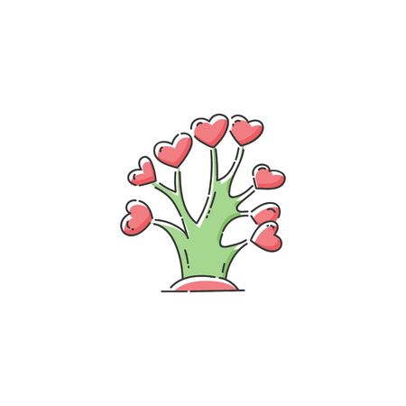 Charity and social support icon the tree with hearts as a symbol of donation and humanitarian help, cartoon sketch vector illustration isolated on white background.