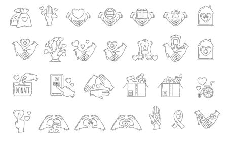 Set of flat outline icons and signs for charity, care and support. Charity symbol, icons and signs with hearts and hands. Isolated vector illustration.