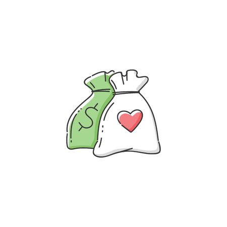 Money bag icon for charity donation center, green sack with dollar sign and white with heart symbol.
