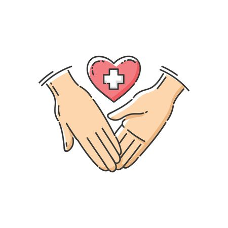 Charity and health care support icon the hands with a heart and white cross as a symbol of help the cartoon sketch vector illustration isolated on white background.