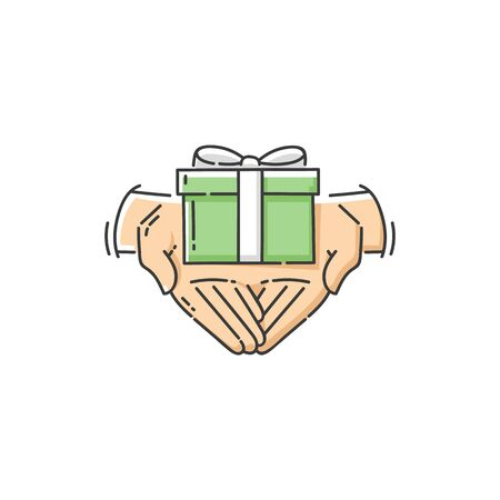 Hands of volunteer give a gift and a present, charity and care icon or symbol. Isolated flat vector illustration of charity with present and hands.