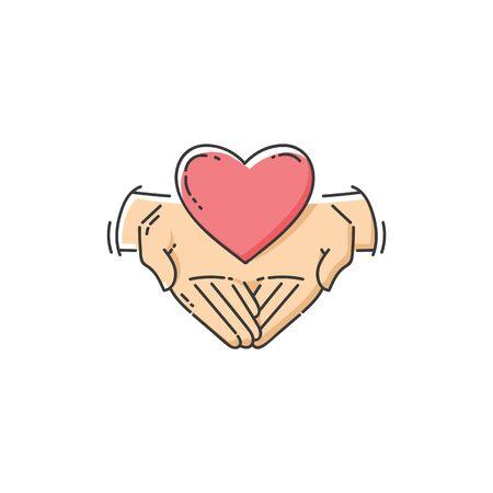 Flache Wohltätigkeitsikone - zwei Hände, die ein Herz, Liebe und Unterstützung für einen guten Zweck halten. Ehrenamtliches Pflege- und Hilfssymbol isoliert auf weißem Hintergrund, handgezeichnete Cartoon-Linien-Kunst-Vektorillustration