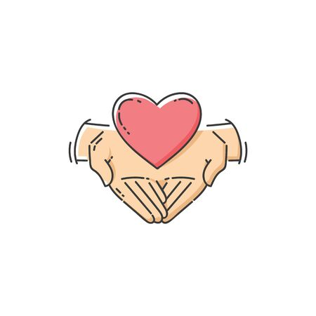 Flat charity icon - two hands holding a heart, love and support for good cause. Volunteer care and help symbol isolated on white background, hand drawn cartoon line art vector illustration