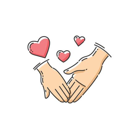 Child and parent love - charity icon of two hands holding and heart symbols, children care and support center