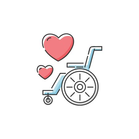 Wheelchair icon with hearts, disability awareness and care symbol for elderly or disabled help and support charity organisation.