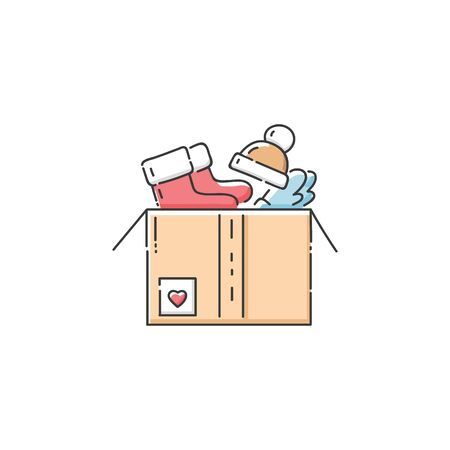 The charity box full of cloth and food sketch vector illustration isolated on white background. The concept of kindness and volunteer support of the needy people. Ilustracja