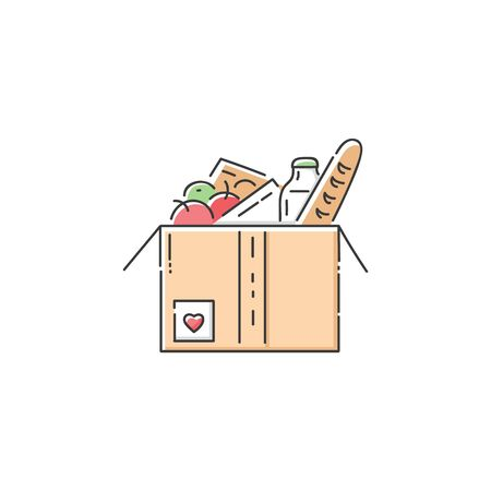 Food donation cardboard box icon