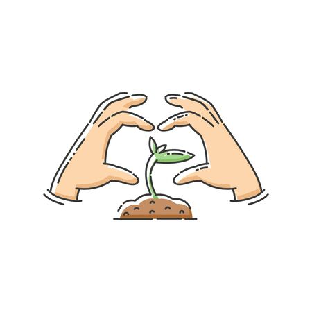 Green plant sapling icon with hands in heart shape.