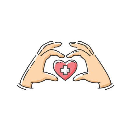 Hands forming a heart shape around red love symbol with white cross - flat isolated icon for medical charity campaign or hospital donation center, vector illustration