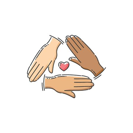 Community help charity icon - three hands with different skin color forming a triangle with heart symbol in the center, love and diversity support sign - flat isolated vector illustration