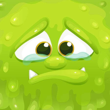 Sad green monster inside a cube frame, squishy slime alien crying holding back tears. Cute funny cartoon character with sharp teeth and upset facial exoression - vector illustration