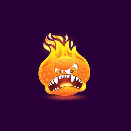 Oranges Feuermonster mit wütendem Gesicht und offenem Mund voller Zähne. Karikaturflammenkreatur mit brennendem Kopf und Lavahaut einzeln auf dunklem Hintergrund, Wutgefühlsvektorillustration Vektorgrafik