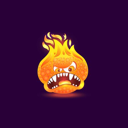 Orange fire monster with angry face and open mouth full of teeth. Cartoon flame creature with burning head and lava skin isolated on dark background, rage emotion vector illustration Illustration