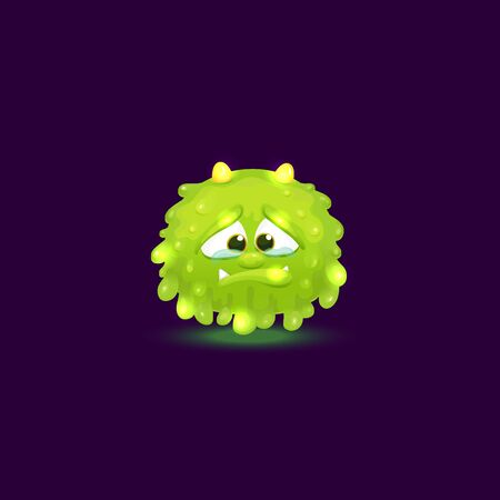 Tiny green monster with round slime shape and horns crying and holding back tears, green baby alien creature isolated on dark background, glowing and floating cartoon character vector illustration Illustration