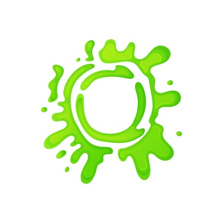 Cartoon green slime circle with gross mucus splatter, jelly liquid splat sign in round abstract shape, colorful border frame with fun splattered paint, isolated vector illustration on white background Reklamní fotografie - 129267299