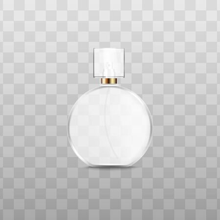 White perfume bottle with realistic glass texture - isolated round cologne container mockup, fragrance beauty product with square cap on transparent background. Vector illustration.