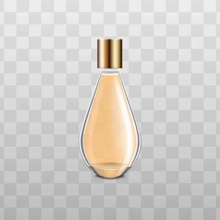 Elegant glass perfume bottle with yellow liquid and gold cap, isolated beauty fragrance product mockup with realistic texture and copy space - vector illustration